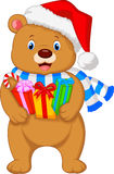 Bear cartoon holding gifts Stock Image
