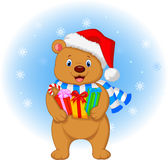 Bear cartoon holding gifts Royalty Free Stock Image