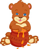 Bear cartoon  with honey Stock Photo