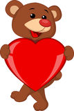 Bear cartoon with red heart Stock Photo