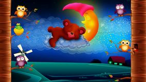 Bear cartoon sleeping on clouds, looped video background