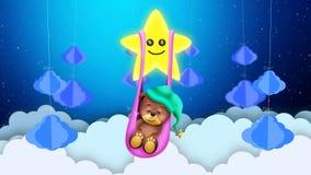 Bear cartoon sleeping on clouds, sleeping bear swing star, night fantasy, loop animation background.