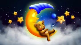 Bear cartoon sleeping on moon, best loop video screen background