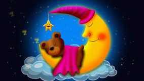 Bear cartoon sleeping on moon, loop video background for lullabies