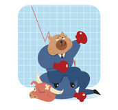 Bear  cartoon win over bull in stock market Royalty Free Stock Photo