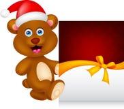 Bear cartoon xmas with greeting card Stock Images