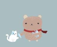 Bear, cat, Share food Stock Photo