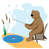 Bear catches a fish. Bear catches fish in the lake. childrens illustration Royalty Free Stock Images