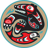 Bear Catching Salmon Haida Style. Bear Catching Salmon - Native American Style Vector Stock Image