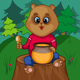 Bear Character on a Tree Stump Royalty Free Stock Photo