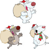 Bear Characters With Christmas Bag. Collection Set Royalty Free Stock Photo