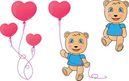 BEAR. Charming teddy bear with a heart-shaped balloon Stock Photography