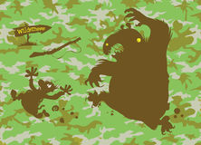 Bear chasing Hunter. Royalty Free Stock Image
