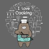 Bear Chef Is Cooking. Brown Bear Wearing An Blue Apron Say `i Love Cooking`. Hand Drawn Doodle Vector Cooking Set. Vector Illustration Royalty Free Stock Photography