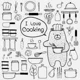 Bear Chef Is Cooking Say `i Love Cooking`. Line Hand Drawn Doodle Vector Cooking Set Include Cooking Equipment & Raw Materials. Bear Chef Is Cooking Say `i Royalty Free Stock Image