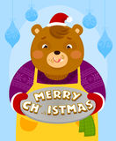 Bear with Christmas cookies. Cartoon bear holding letter shaped cookies that say Merry Christmas. One letter is missing because he ate it Stock Photography