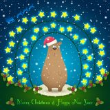 Bear in the Christmas decorations. Illustration of bear in the Christmas decorations. Garland of stars. 2015 New Year Royalty Free Stock Photos