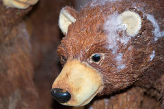 Bear christmas decorations at street market Stock Photos