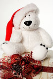 bear with christmas gift and santa hat on white backgro Stock Photography