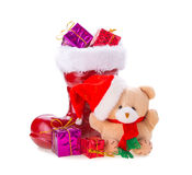 Bear with christmas gift Stock Photos