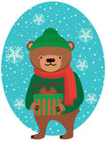 Bear with Christmas gifts Stock Photos