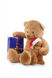 Bear christmas and present Stock Photo