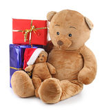 Bear christmas and present Royalty Free Stock Photo