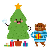 Bear Christmas Tree Royalty Free Stock Photography