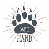 Bear Claw. Bear Footprint with Lettering Bare hand. Vector. Illustration Stock Photo
