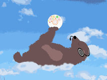 Bear is on the cloud with the disk and headphones Royalty Free Stock Photography