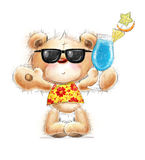 Cute Teddy bear with the cocktail in the summer gl Royalty Free Stock Photography
