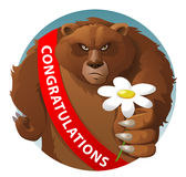 Bear with congratulations. Cartoon styled vector illustration. No transparent objects Stock Photos
