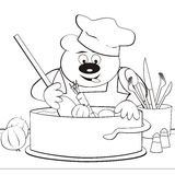 Bear - cook, coloring-book Stock Images