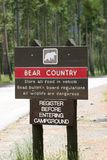 Bear country warning. Warning sign at the entrance of a campground advising of bear activity. yellowstone national park, wyoming stock photos