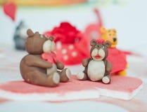 Bear couple. Made of marzipan Stock Image