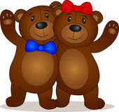 Bear couple cartoon Royalty Free Stock Photos