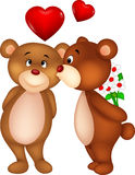 Bear couple cartoon kissing Stock Photography