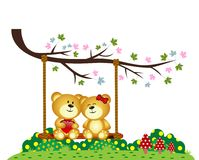 Bear Couple in love sitting on a swing under a tree at the park Stock Photography