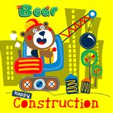 Bear and crane funny animal cartoon. Animal cartoon design for t-shirt,vector illustration art,new design,funny animal cartoon Royalty Free Stock Photography