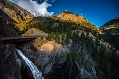 Bear Creek Falls with Mt Abram in the Background Colorado Landsc Royalty Free Stock Photo