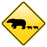 Bear Crossing Warning Stock Photos