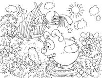 Bear-cub calling the Rabbit sitting in his hole. Black-and-white outline (for a coloring book) of the Bear-cub stopped in front of the Rabbit hole vector illustration