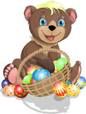 Bear cub and Easter. Bear in front of the basket with Easter eggs vector illustration