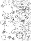 Bear-cub flying the balloon around a beehive. Black-and-white outline (for a coloring book) of the Bear-cub that flies the balloon around a beehive with the bees stock illustration