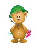 Bear cub in a helmet with a bouquet Stock Images