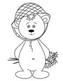 Bear cub in a helmet with a bouquet, monochrome. Cheerful toy bear cub in a helmet with a bouquet Royalty Free Stock Photography