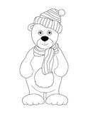 Bear Cub In A Cap, Black And White Royalty Free Stock Images