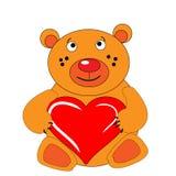 The Bear cub keeps in hand heart. The Festive postcard Stock Photos