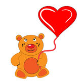 The Bear cub keeps in hand heart. The Festive postcard Royalty Free Stock Image