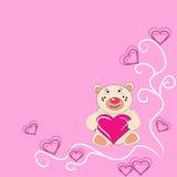 The Bear cub keeps in hand heart. The Festive postcard Stock Image